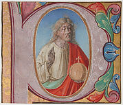 Manuscript Illumination with Salvator Mundi in an Initial P, from a Choir Book