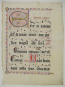 Manuscript Leaf with Initial E, from an Antiphonary