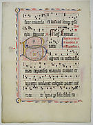 Manuscript Leaf with Initial B, from an Antiphonary