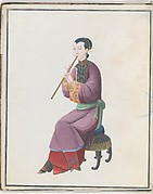 Watercolor of musician playing xiao