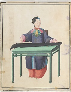 Watercolor of musician playing qin