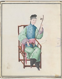 Watercolor of musician playing gaohu(?)
