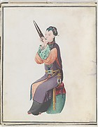 Watercolor of musician playing sheng