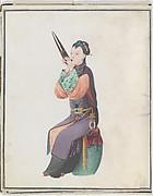 Watercolor of musician playing sheng
