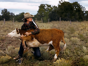 Ruth Leonard Secures a Calf in Her Pasture