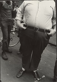 [Street Scene: Portly Man Holding Belt, New York City]
