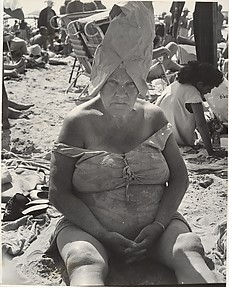 [Beach Scene: Woman Wearing Paper Bag Hat, Coney Island, New York]