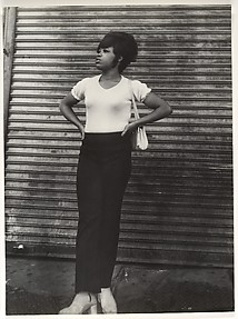 [Street Scene: Woman in White Tee Shirt and Black Pants, New York City]
