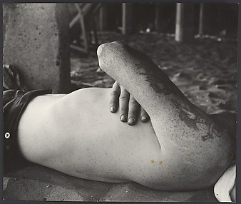 [Beach Scene: Shirtless Man Sleeping Under Boardwalk, Coney Island, New York]