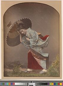 [Woman with Umbrella in Rain]