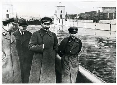 [Kliment Voroshilov, Vyacheslav Molotov, Joseph Stalin, and Nikolay Yezhov on Moscow-Volga Canal, Moscow]