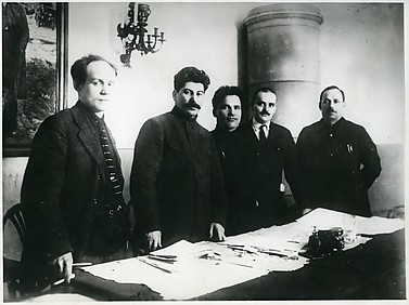 [Nikolai Antipov, Stalin, Sergei Kirov, Nikolai Shvernik, and Nicolay Komarov at Fifteenth Leningrad Regional Party Conference, Leningrad]