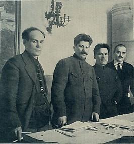 [Nikolai Antipov, Stalin, Sergei Kirov, and Nikolai Shvernik in Leningrad, 1926] in S.M. Kirov Album, 1886-1934 (Leningrad, 1936)