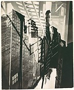 [Double Exposure: Lincoln Building Construction Site and Exterior Stairwell, New York City]