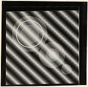 [Photogram: Three Series of Concentric Circles on a Diagonal on Ground of Diagonal Stripes]