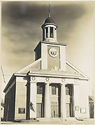 [Victorian Architecture: Federal Style Church with Doric Columns and Placard Reading