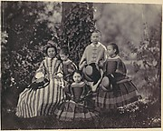[Seated Lady in Striped Dress with Four Little Girls]
