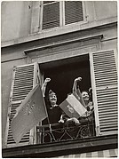 [Women Giving Popular Front Salute from Window, Bastille Day, Paris]