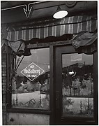 [Corner Cafe Window with Painted Scene and Neon Sign for
