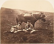 [Charlie and Peel Ross with Horse after a Hunt]