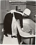 Parlourmaid Preparing a Bath Before Dinner