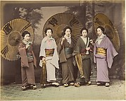 [Five Japanese Women in Traditional Dress with Parasols]