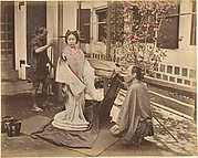 [Japanese Woman in Traditional Dress Posing with Two Men]