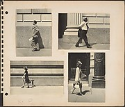 [Pedestrians in New York City: Man in Suit Holding Newspaper on Street; Man in Shirt Sleeves and Straw Boater Hat on Street; Woman Walking Before Siamese Standpipe; Woman Walking Past Saks and Company Department Store]