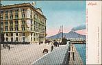Napoli.  L'Hotel S. Lucia e la via nuova S. Lucia con vista del Vesuvio.