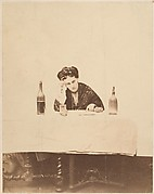 [La Comtesse at Table with Bottle on Either Side]
