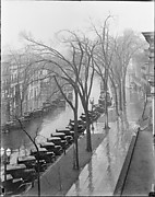 [Parked Cars and Elm Trees Along Broadway, From High Elevation, Saratoga Springs, New York]