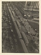 [Bus and Automobile Traffic on 42nd Street, from Above, Looking East from Sixth Avenue, New York City]