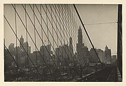 [The Cables of the Brooklyn Bridge and Manhattan Skyline seen Looking West from the Bridge's Deck, New York City]