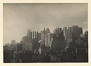 [Manhattan Skyline seen from the Span of the Brooklyn Bridge, New York City]