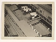 [Aerial View, Train Station and Trucks, New York]