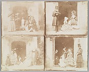 [Contact sheet of four group portraits in a doorway]
