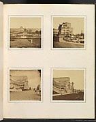 [Exterior View of Facade and Fountains; Exterior View of Side Pavilion; Exterior Side View of Central Transept; Exterior Side View of Central Trancept with Reclining Figure in Foreground]