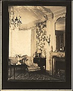 [Living Room Interior, with Chandelier, Floral Print Wall Paper, and Fireplace, Probably Joseph Verner Reed Family Residence]