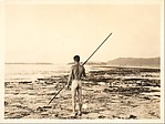[Walker Evans on Shore, Naked and Holding Spear, From Behind, South Seas Trip]