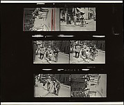 [Contact Sheet of Six 35mm Negatives: Tintype Photographer at Work, Probably Greenwich Village, New York City]