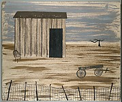 [Shack and Wagon Behind Fence]