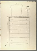 [Line Drawing of Dresser with Mirror and Lamp]