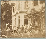 [Group on Lawn and Benches Before House, Possibly Sanatorium]