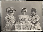 [Three Little Girls Having a Tea Party]