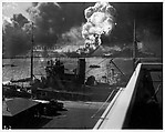 [Burning and Damaged Ships at Pearl Harbor, December 7, 1941, Docked Boat in Foreground]