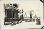 [Winter Scene of Clapboard House with Man Standing on Porch, Possibly Sandy Creek, New York]