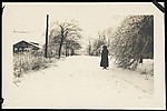 [Winter Scene of Woman on Snow-Covered Road, Possibly Sandy Creek, New York]