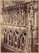 [Pointed Arches, Sculptural Saints, and Rose Window on Unidentified Cathedral]