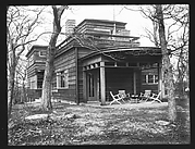 [Modernist House with Brick Patio, Residence of Lyman Paine and Ruth Forbes, Naushon Island, Massachusetts]