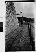 [Pedestrian on Ramparts, Coastal Town, France]